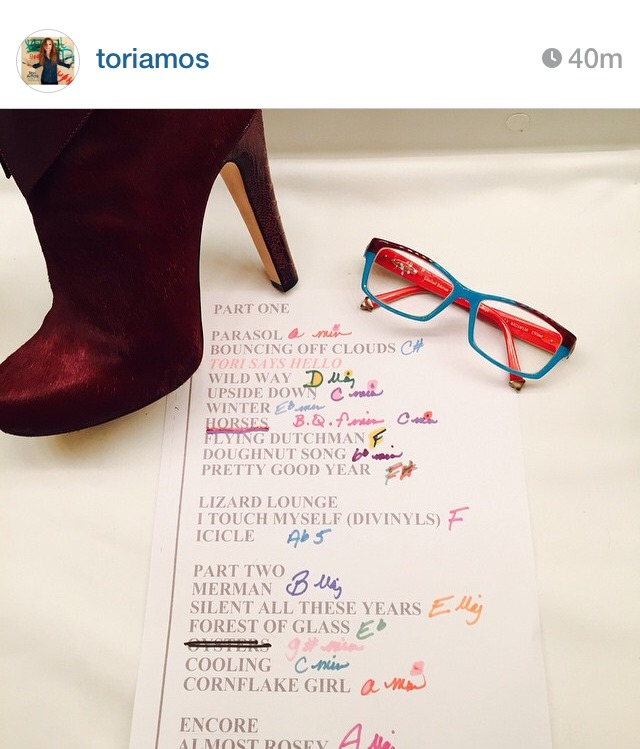 Tori's Set List. Image Curtesy Tori Amos Instagram