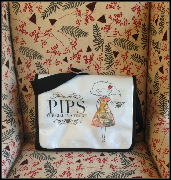 Parjie Bag on Nicola Cereni Printed Fabric Covering my 1800s Winged Back Chair